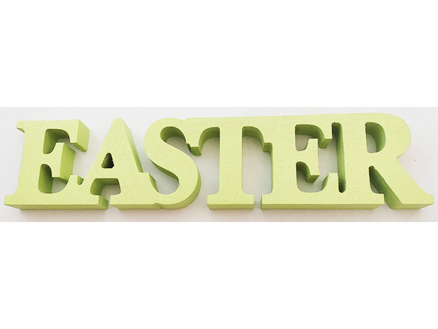 Wooden Easter Sign, Green with Glitter