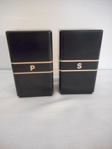 Vintage Art Deco Black Plastic Bakelite Salt & Pepper Set Mid Century Retro - £24.27 GBP