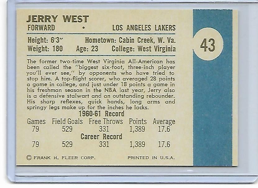 1961  FLEER BASKETBALL  - JERRY WEST Rookie RP  #43