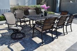 "Santa Clara Outdoor Patio 9pc Dining Set 44"" x 84"" Cast Aluminum Dark Br... - $2,359.17"