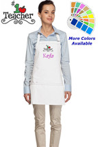 Personalized Apron with Number One Teacher Embroidery Design Teacher Gift - $22.99