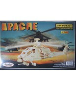 Puzzled Apache Helicopter Construction Kit 3-D Wood Puzzle Model #1202 - $9.97