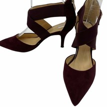Liz Claiborne | Sz 7.5 Wine Suede Merlot Heels Elastic Straps Pointy Toe - $23.38