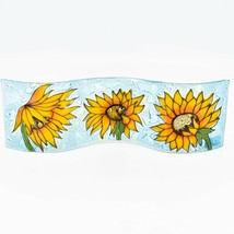 Fused Art Glass Sunflowers Flowers Wavy Decor Sun Catcher Handmade in Ecuador