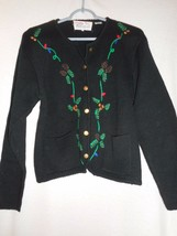 Vintage Size L Tally-Ho Christmas embroidered Black Sweater Cardigan Jac... - $28.70