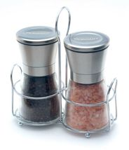 Premium Salt and Pepper Grinder Set with Table Stand, Brushed Stainless ... - £26.96 GBP