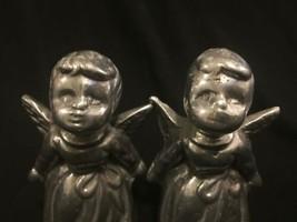 Vintage Pair Silver Tone Metal Cherub Angel Figure Heavy Figurine Decor image 2