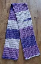 "Purple Tweed Winter Crochet Knit Boho Scarf Shawl 76"" x 9"" Warm Handmade   - $26.99"
