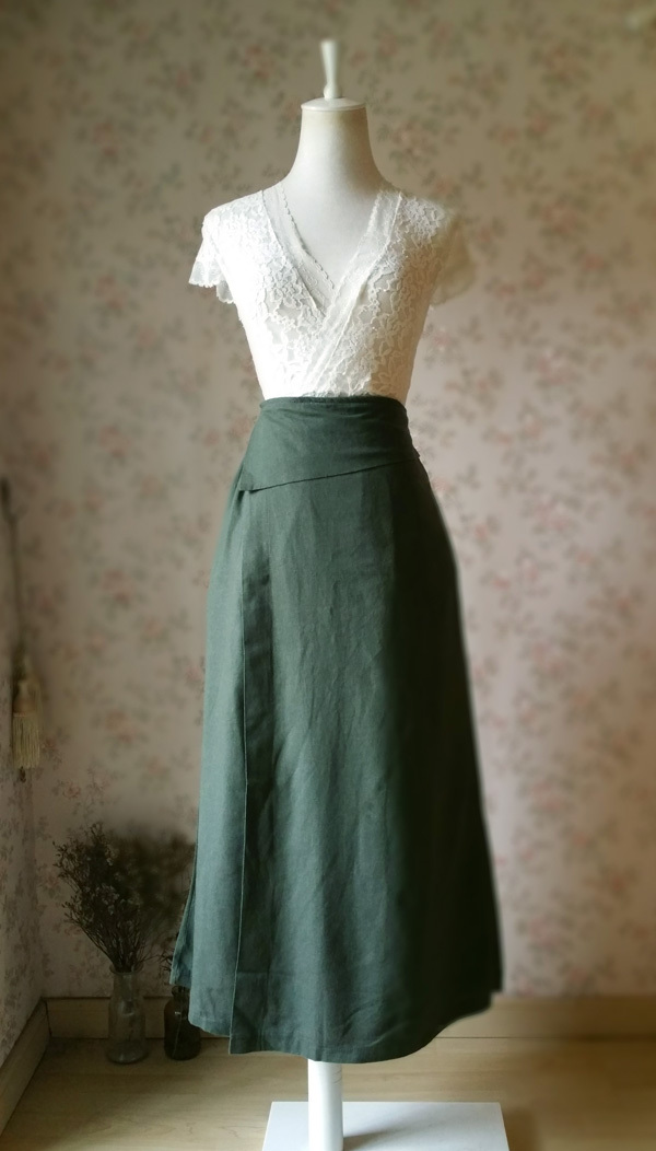 ARMY GREEN Boho Skirt Loose Long Linen Wrap Skirts High Waist Linen Boho Skirts