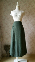 ARMY GREEN Boho Skirt Loose Long Linen Wrap Skirt Army Green Linen Skirt Outfit  image 2