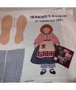 "Doll Homespun Hannah Americana Quilt Fabric Panel Cut N Sew 16"" Cranston - $13.68"