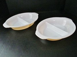 2 FIRE KING Divided Serving Dishes Glass Peach Lustre Made in USA - $26.50