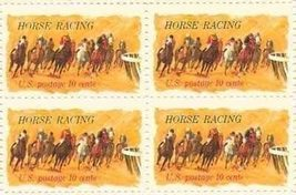 1974 Horse Racing Block of 4 US Postage Stamps Catalog Number 1528 MNH