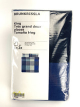 Ikea Brunkrissla King Duvet Cover w/2 Pillowcases Bed Set Blue Gray New - $61.63