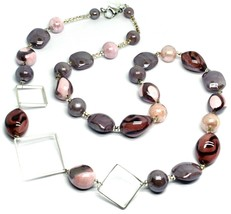 NECKLACE PINK PURPLE ROUNDED DROP, SPHERE, EXAGON MURANO GLASS SQUARE, 80cm LONG image 1