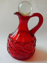 Fenton LG Wright RICH RUBY RED Glass Cruet Clear Stopper S Pattern    - $34.60