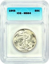 1945 50c ICG MS64 - Walking Liberty Half Dollar - $63.05