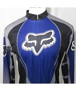 Vintage Fox Racing Cycling Jersey Black Blue Silver 3/4 Zip XXL Made In USA - $168.25