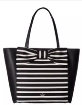 Kate Spade olive drive Savannah Striped Black Tote Rare Sold Out Soft Na... - £237.53 GBP