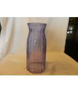 "9.75"" Tall Purple Glass Vase, Rib Design 4.5"" Diameter - $55.69"