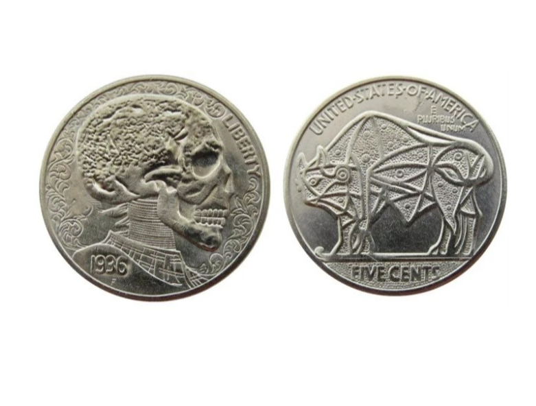 Primary image for  Hobo Nickel Human Skull Skeleton Cosmic Star Buffalo American US Nickle Coin