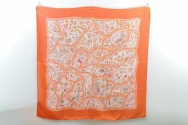 "HERMES Scarf """"CHEMINS DE GARRIGUE"""" 100% Silk Orange Auth 8113 - $250.00"