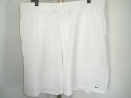 "MEN'S NIKE GLOBAL CONTROL 9"" WHITE TENNIS SHORTS SZ L ADJ. WAIST 15% SPA... - $36.62"