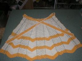 "Vintage Yellow Gold & Ecru Zig Zag Crocheted Half Apron 17"" Long 14"" Waist - $16.59"