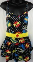 DC COMICS Polka Dot Womens Superhero Layered Sleepwear Pajamas Size M - $9.27