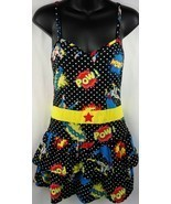 DC COMICS Polka Dot Womens Superhero Layered Sleepwear Pajamas Size M - £6.78 GBP