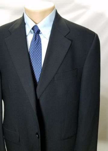 M.HYMAN AND SON CHICAGO SOLID BLACK 100% WOOL 3 BUTTONS NON VENT SPORT COAT 42R
