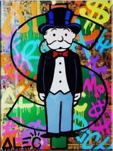 Alec Monopoly Bansky oil Painting on Canvas graffiti art Newspapaer Rich... - $29.69