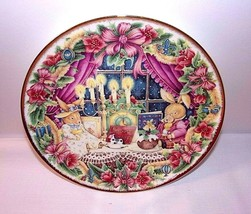 ROYAL ALBERT Plate Seasons Greetings Christmas Window Scene Rabbits 1990s - $22.72