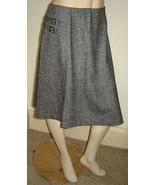 GARNET HILL Black/Gray Tweed Asymmetrical Stretch Wool Skirt w/ Buckles ... - $39.10