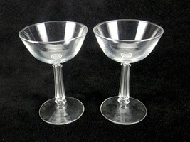 Vintage Pair of Champagne Glasses, Ribbed & Tapered Square Stems, Wide M... - $12.69