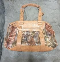 Jessica Simpson Brown Earth Tone Reptile Pleated Purse Satchel Bag - $29.49