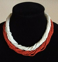 Vtg Trifari 2 Set Necklace Signed White Red Glass Seed Bead 8 Multi Stra... - $14.25