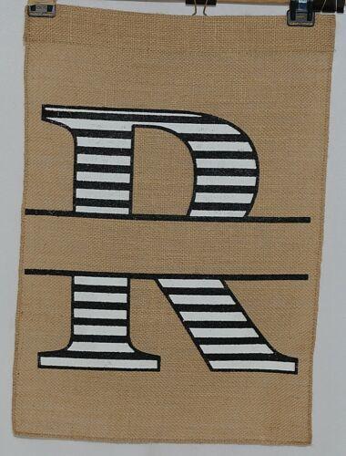 Kate Winston Brand Brown Burlap Monogram Black White R Garden Flag
