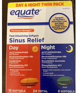 Equate Maximum Strength Day & Night Sinus Relief Softgels, 24 Count - $7.23