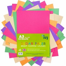 A3 Sugar Paper - 100 x Coloured Sheets - 21003 - Made in the UK Ivy Stat... - $15.35