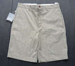Greg Norman Shorts 32 Golf Signature Series Flat Front Plaid Taupe Mens NWT - $24.95
