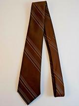 """Wash 'N Wear Wemlon by Wembley Mens Necktie Tie 56"""" Brown w/ thin Blue S... - $9.89"""