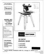 Sears Craftsman  Radial Arm Saw Manual No.113.199250 - $10.88