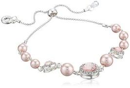 Anne Klein Women's Silver/Pink/Crystal Slider Pearl Bracelet - $34.24