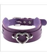Heart Collar Purple Leather Choker Necklace Goth Punk Rock Sexy BDSM - $25.34