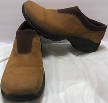 Merrell Primo Moc Mocha Nubuck Shoes Size 9.5 Slip On Hiking Trail Walki... - $40.58