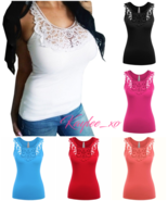 Sexy Crochet Detail Sleeveless Summer Lace Solid Fitted Tank Low-cut Top... - $17.99