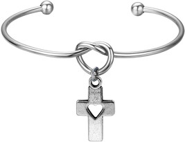 FEELMEM Christian Bracelet Cross Charm Bracelet-Simple Love Knot with Cr... - $43.95