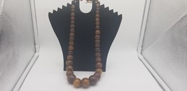 Vintage Glass Beads Beaded Necklace Root Beer Color Brown Small To Large... - $67.82