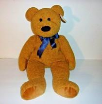 "Ty Beanie Buddies Large Fuzz Brown Teddy Bear Blue Ribbon Bow Plush 20"" - $14.69"